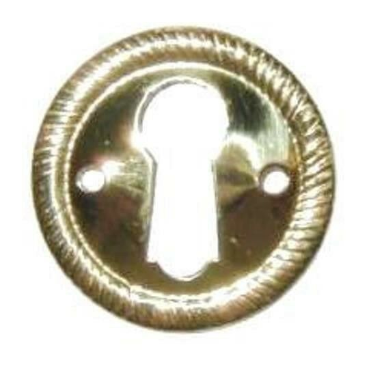 """Stamped Solid Brass Keyhole Escutcheon With Rope Edge, 1"""" Diameter, E-2"""