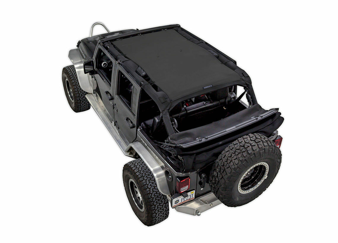 1 Of 7Only 1 Available 2007 2017 Jeep Wrangler Unlimited SpiderWebShade  TrailMesh Bikini Top Black