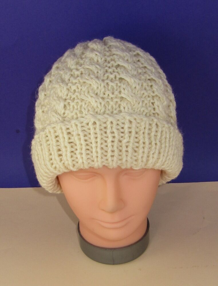 Easy Knitting Patterns Instructions : Printed instructions easy cable chunky unisex beanie hat