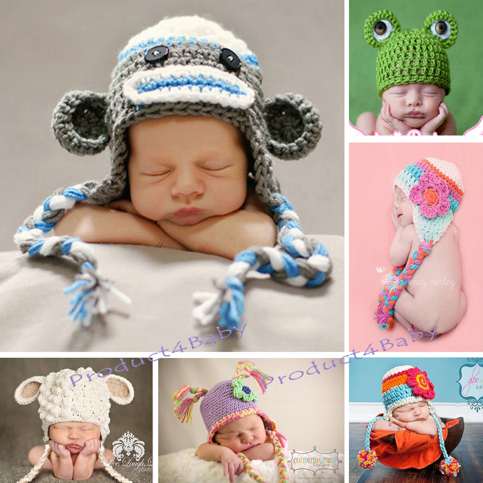 New Baby Boy Girl Crochet Beanie Costume Hat 0-3, 3-6, 6-12M,1-3Yrs Photo Props