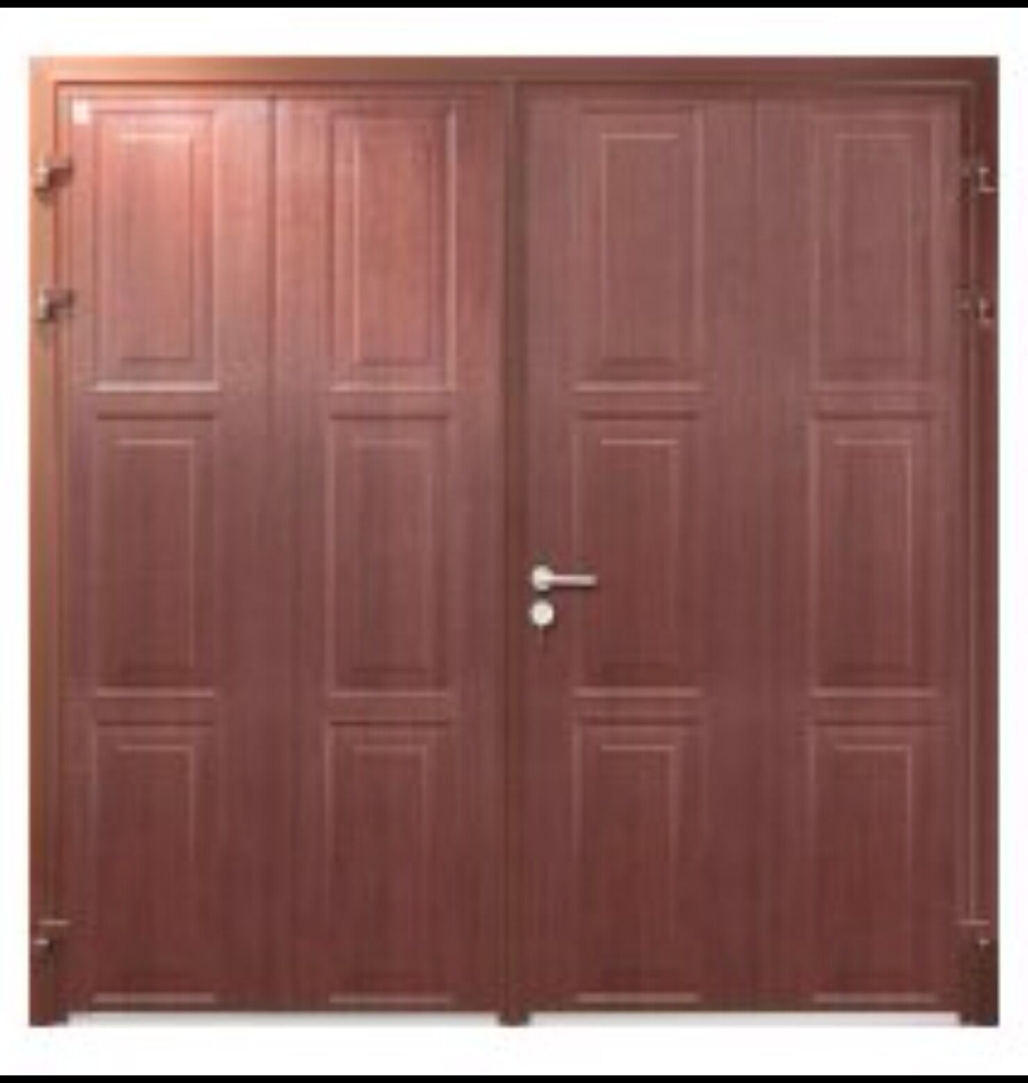 1558 #9C4A2F Insulated Side Hinged Garage Door Steel Side Hung Opening Georgian  picture/photo Steel Insulated Exterior Doors 40691480