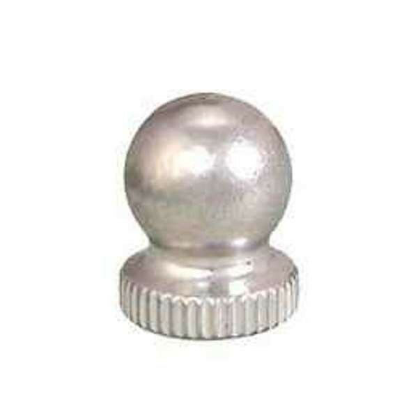 10958N Small Nickel Plated Turned Brass Knob Lamp Finial, 1/4-27F Base