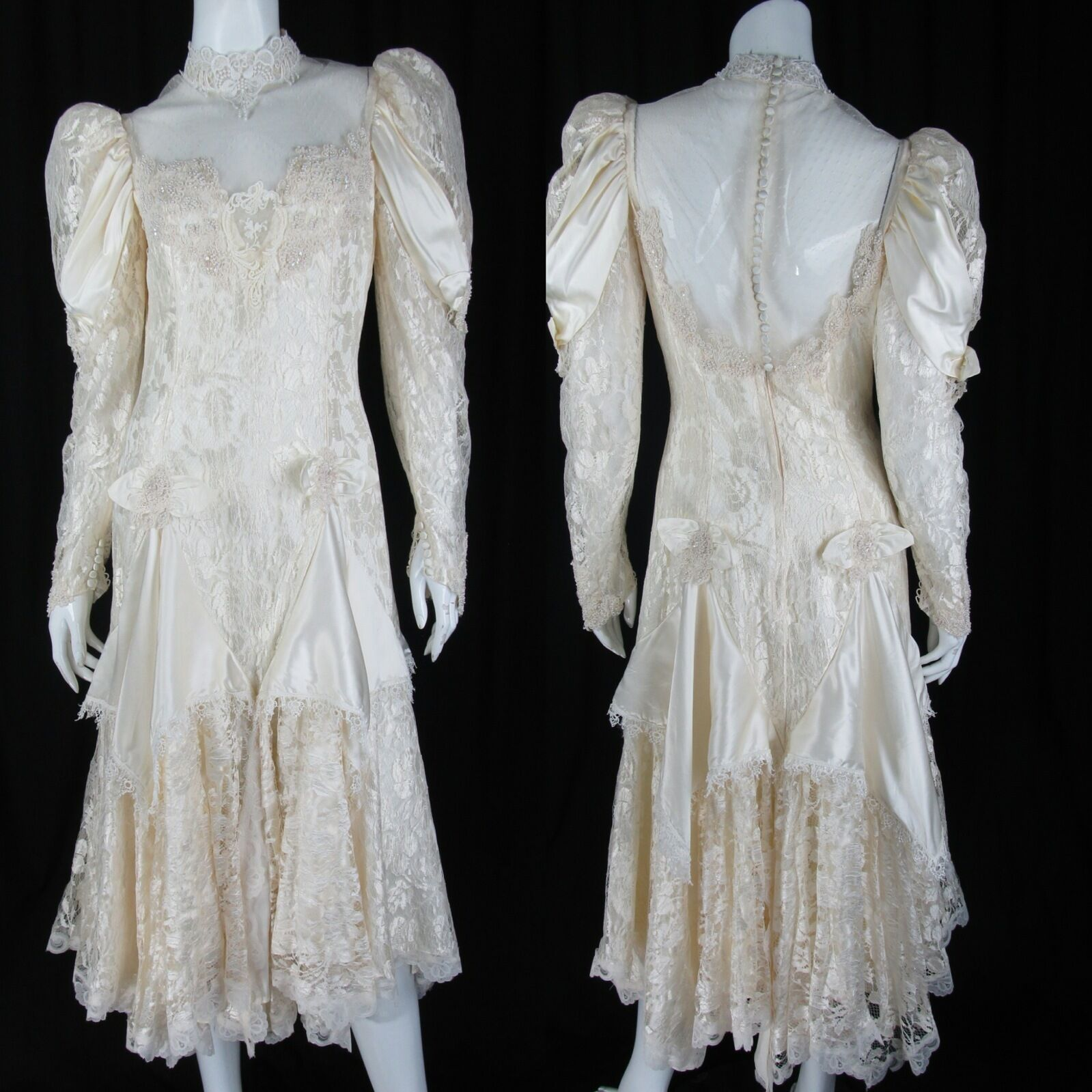 FRENCH LACE vintage wedding dress SATIN SHEER Victorian