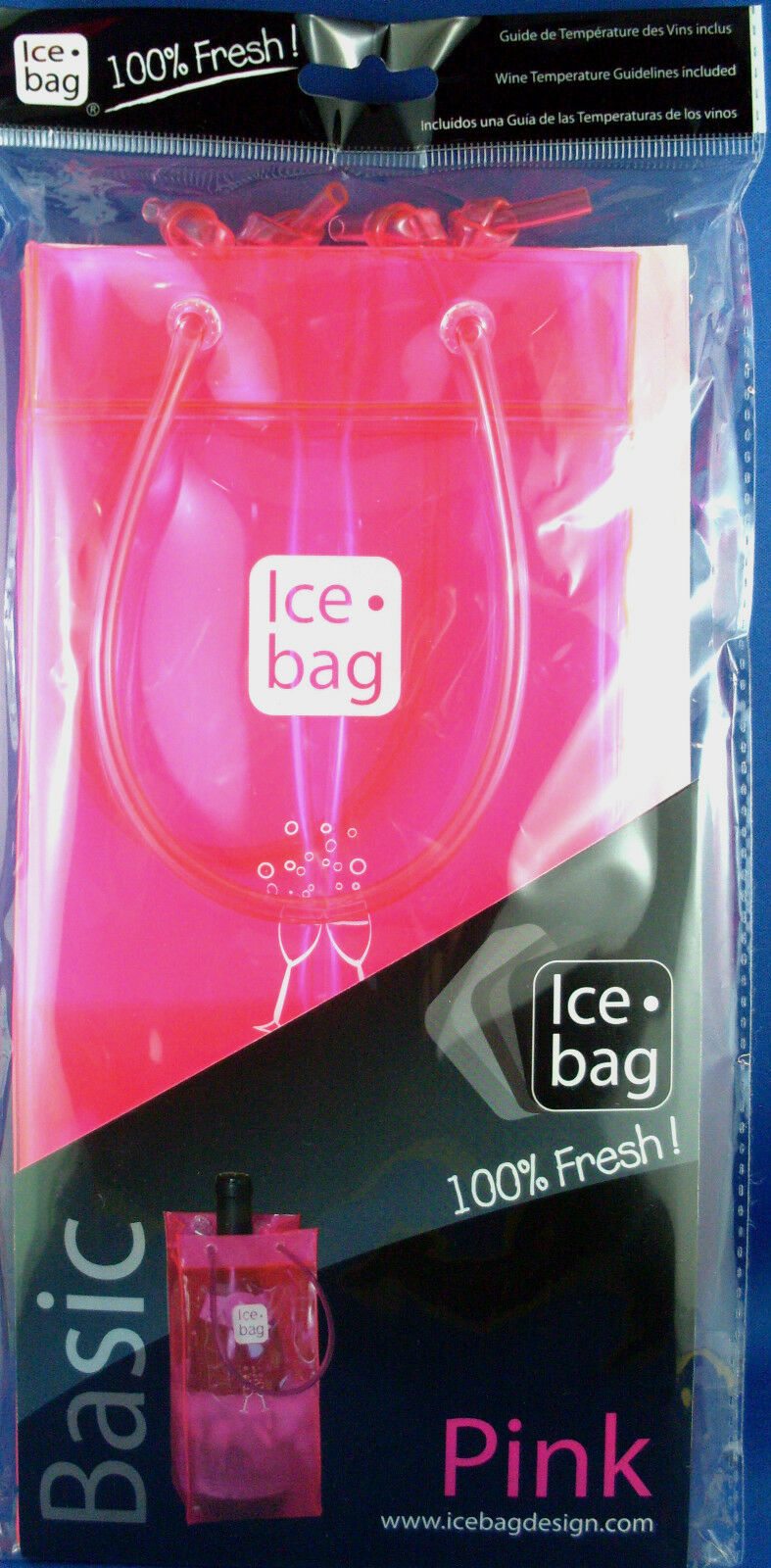 NEON PINK ICE BAG French Designed Gift BAG WINE COOLER New Sealed - In Australia