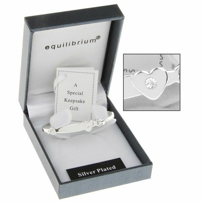 Silver Plated Baby Gifts Australia : Christening gift silver plated heart detail baby bangle