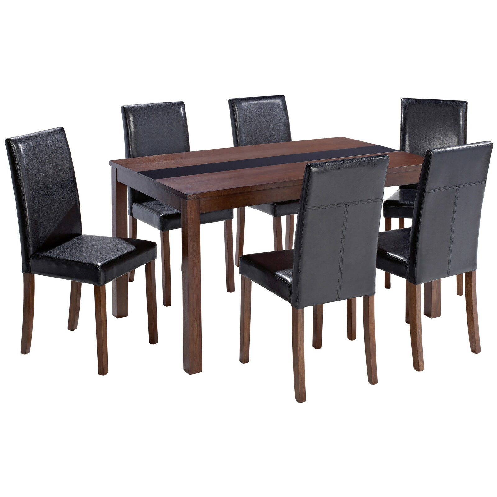 Walnut Finish Dining Table and Chair Set with 6 Black  : Walnut Finish Dining Table and Chair Set with from picclick.co.uk size 1600 x 1599 jpeg 186kB