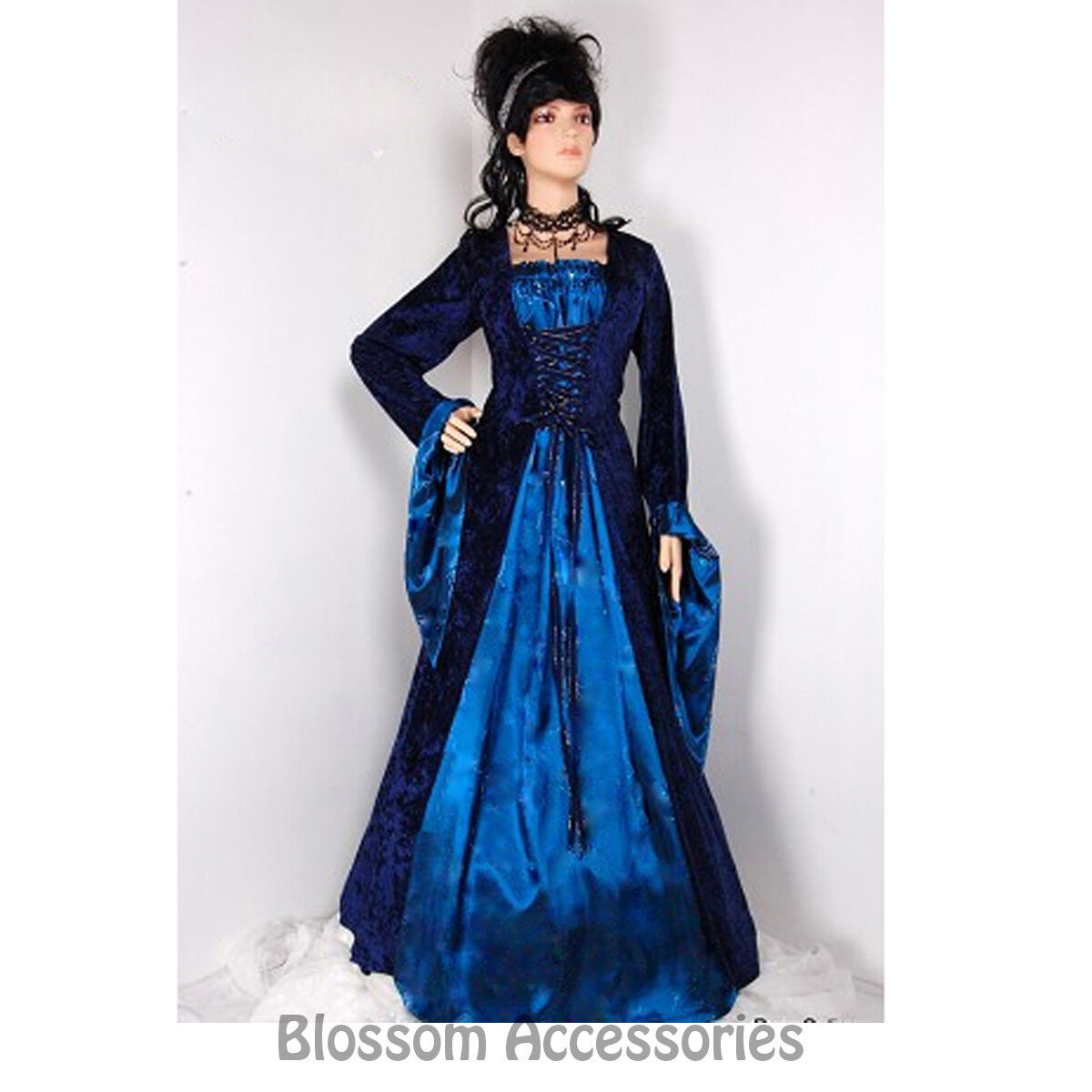 I69 BLUE LONG Gown Game Thrones Renaissance Medieval Queen Fancy ...