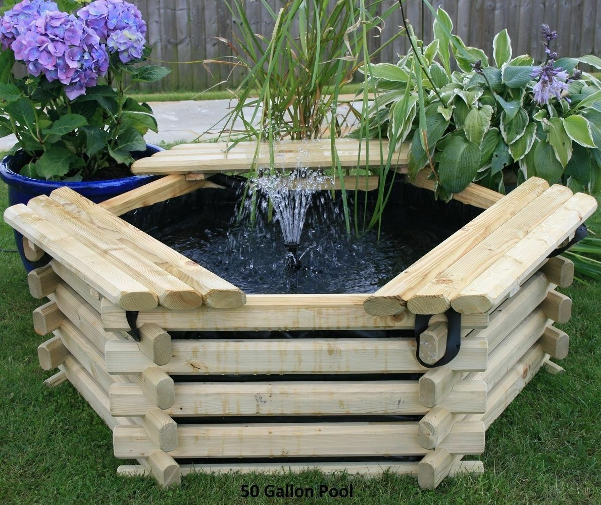New 50 gallon wooden garden pond pool water feature with for Fishpond uk