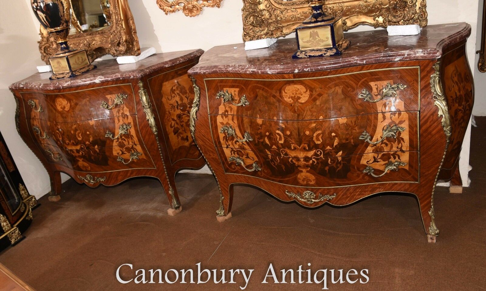 Pair Louis XV Marquetry Inlay Bombe Commodes Chest Drawers