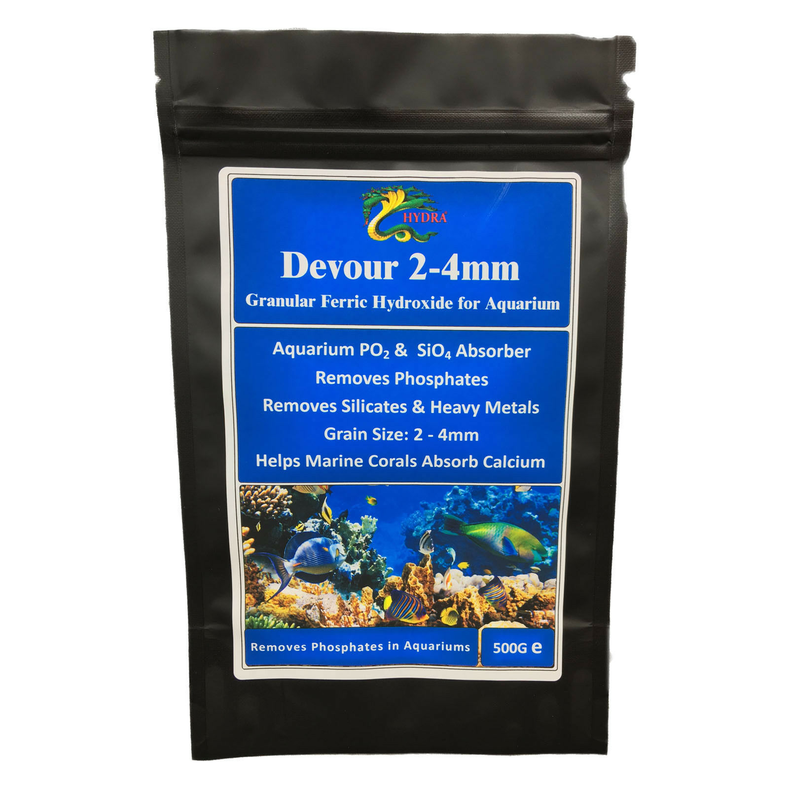 Phosphate Remover Marine Reef Aquarium Grain Size 2.0- 4.0mm-HYDRA DEVOUR 500 GM