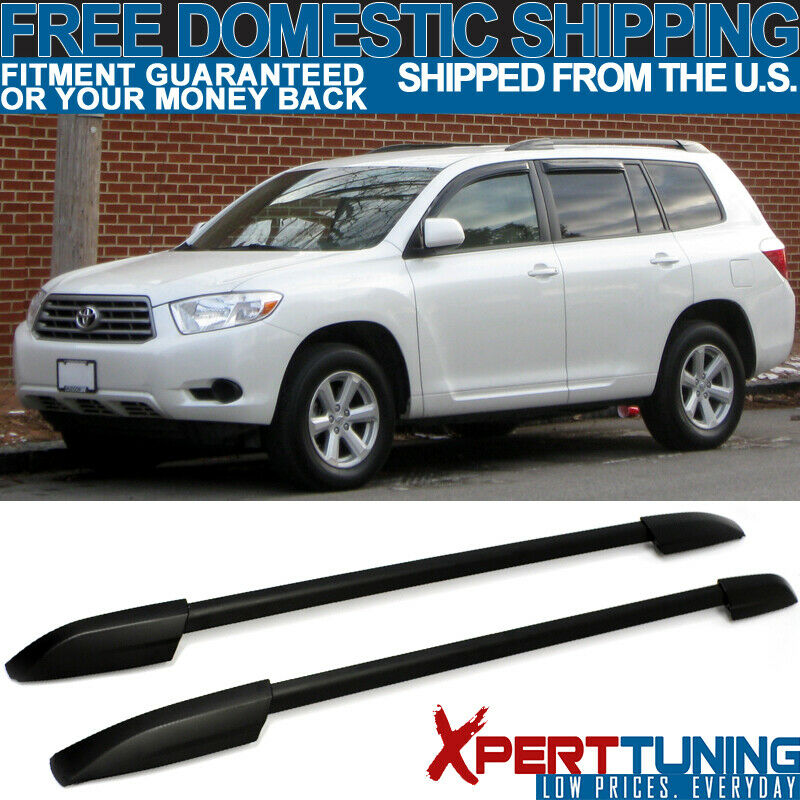Fit 2008 2013 Toyota Highlander Oe Style Black Roof Rack Side Rail 6998