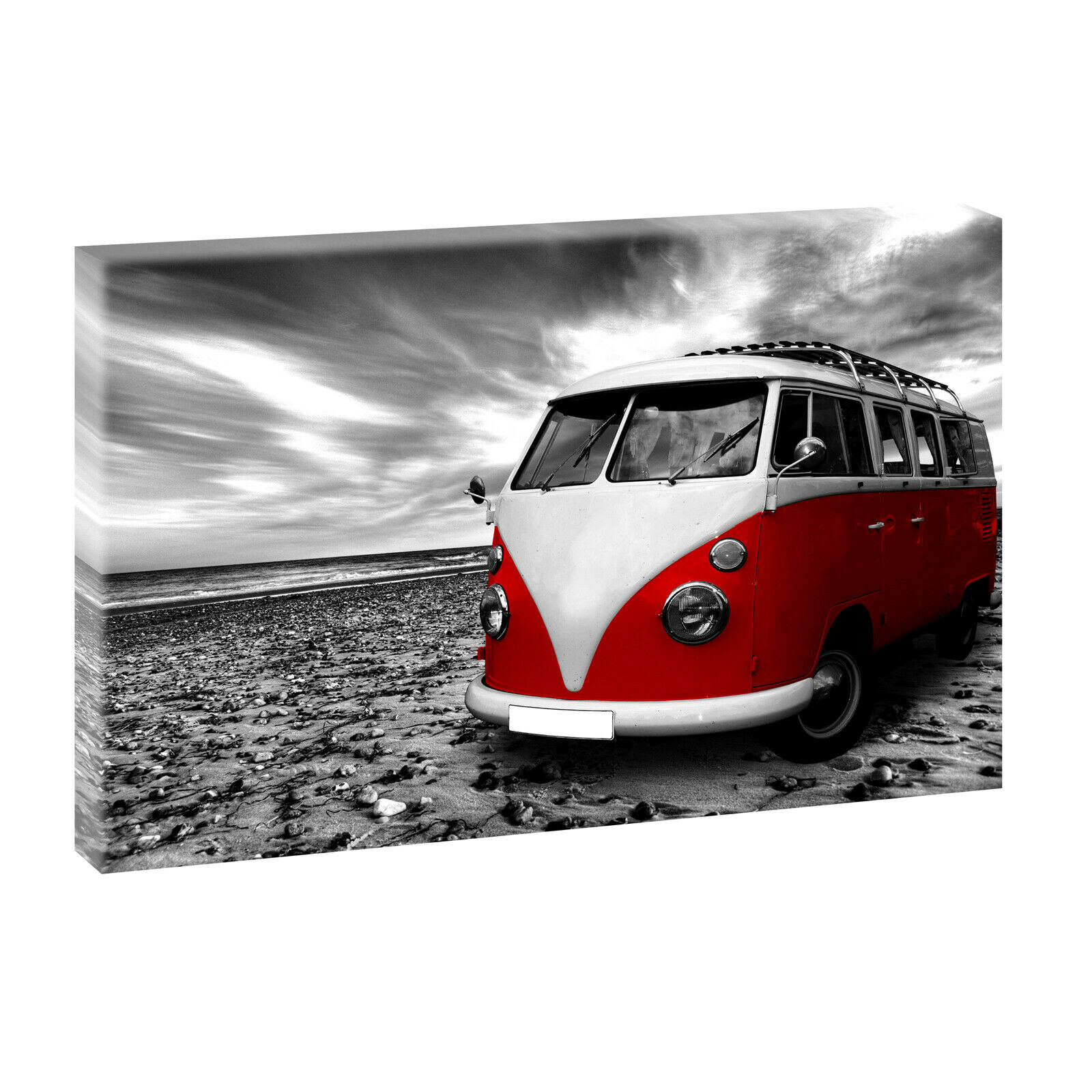 vw bulli sw mit rot bilder keilrahmen poster leinwand xxl. Black Bedroom Furniture Sets. Home Design Ideas