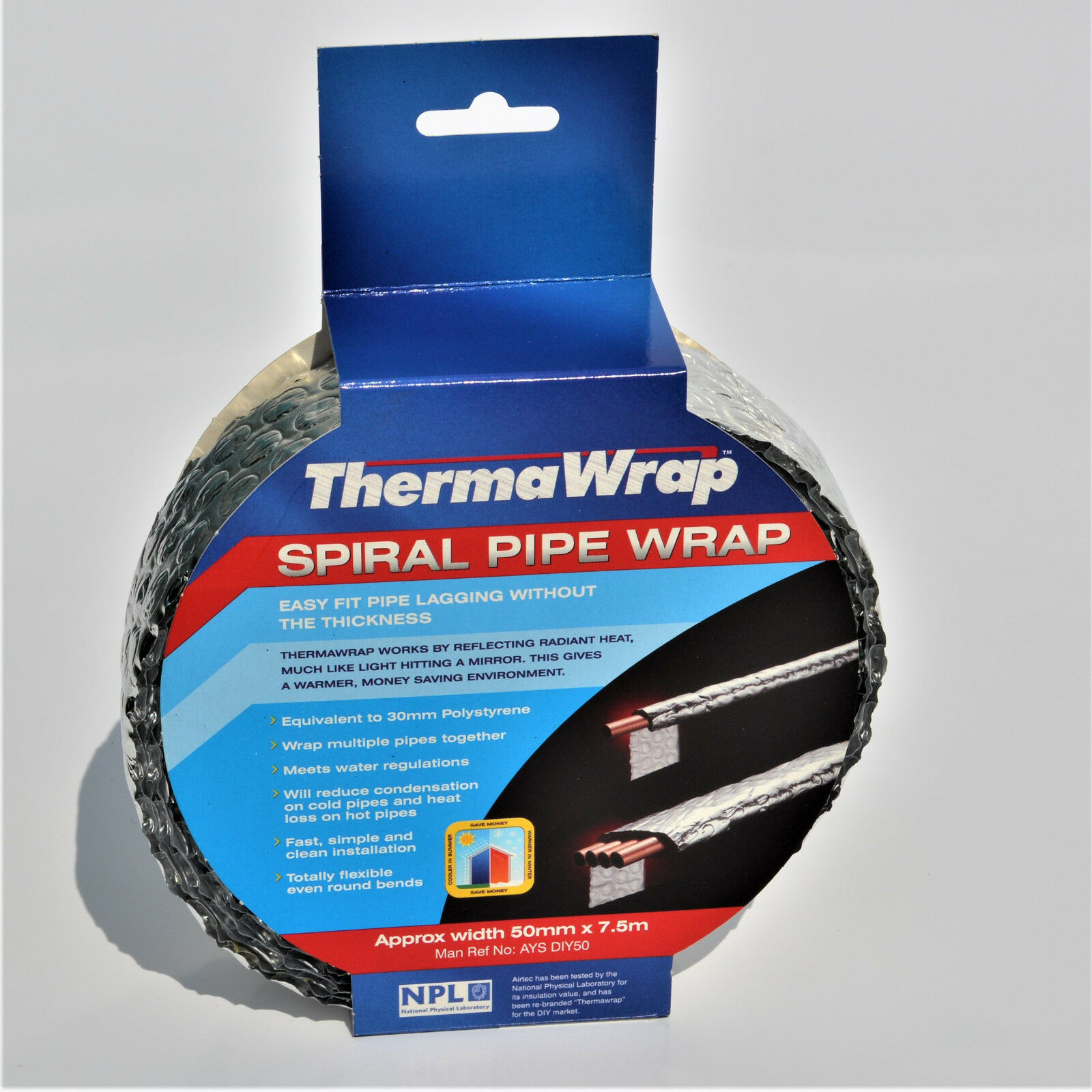 THERMAWRAP PIPE WRAP for pipe lagging 7.5m x 50mm wide - 4 ROLLS ...