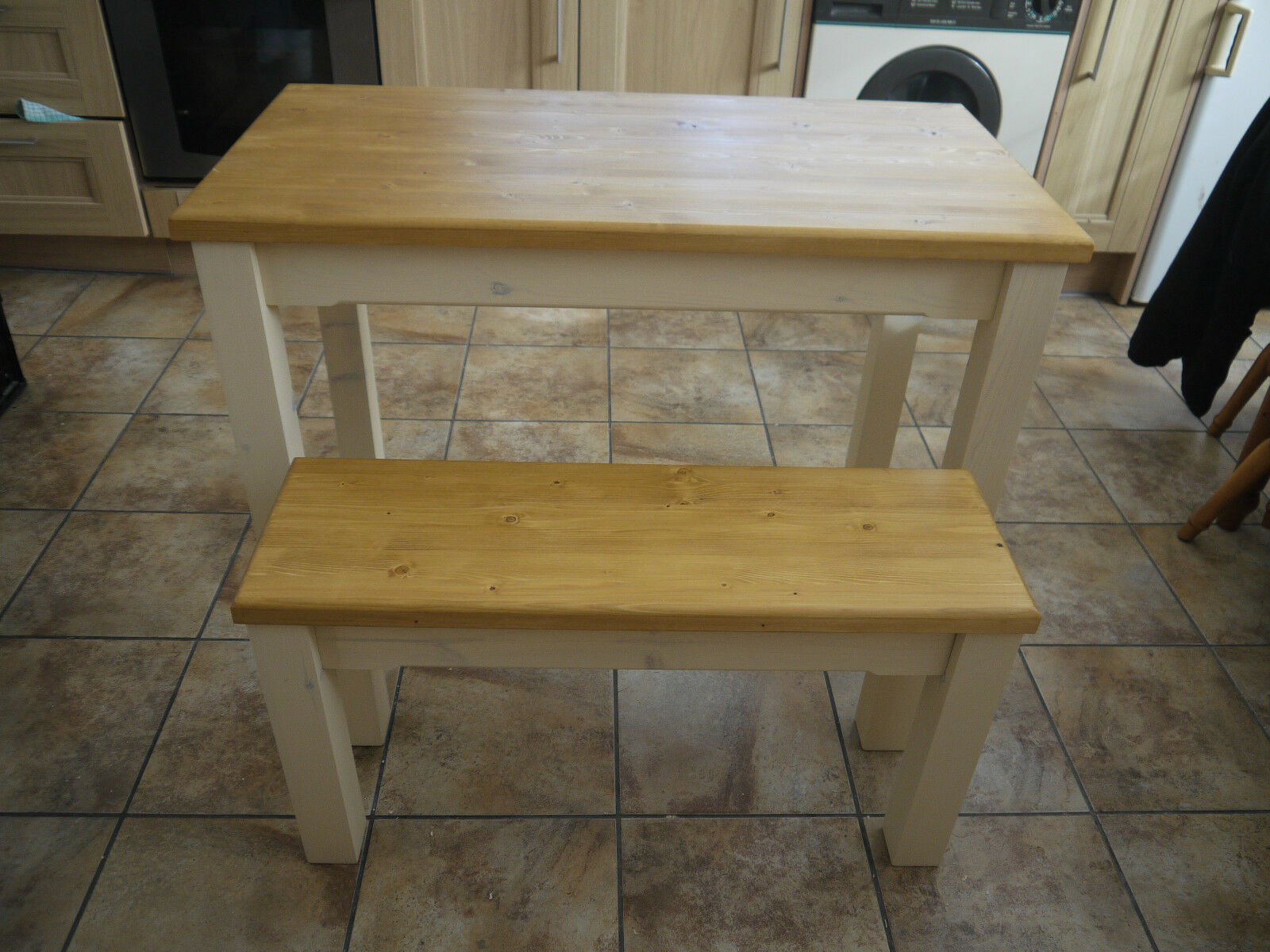 Wooden Farmhouse Kitchen Dining Table And 2 Bench Set Sturdy And Solid Picclick Uk