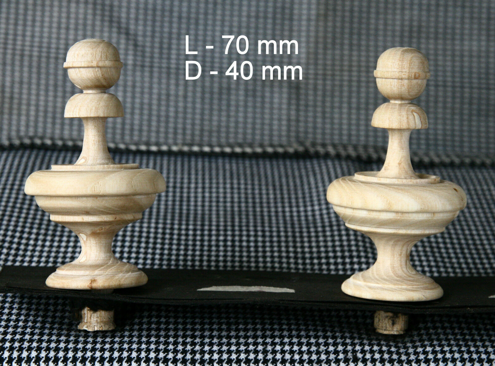 2 Wood FINIALS 70 mm for Antique Wall Clock / Barometer / Mirror / Furniture #5
