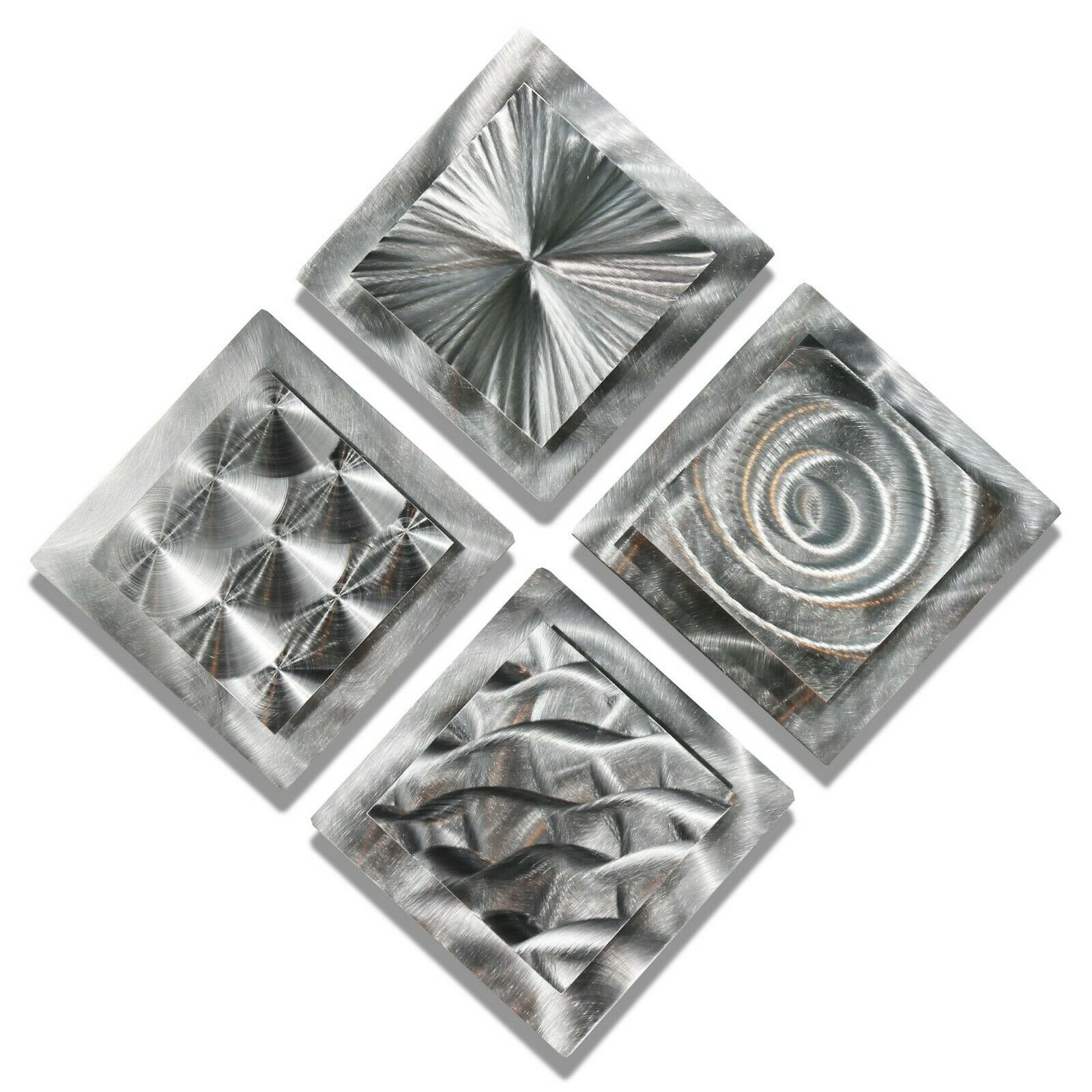 MODERN ABSTRACT SILVER Metal Wall Art Original Home Decor Sculptures ...