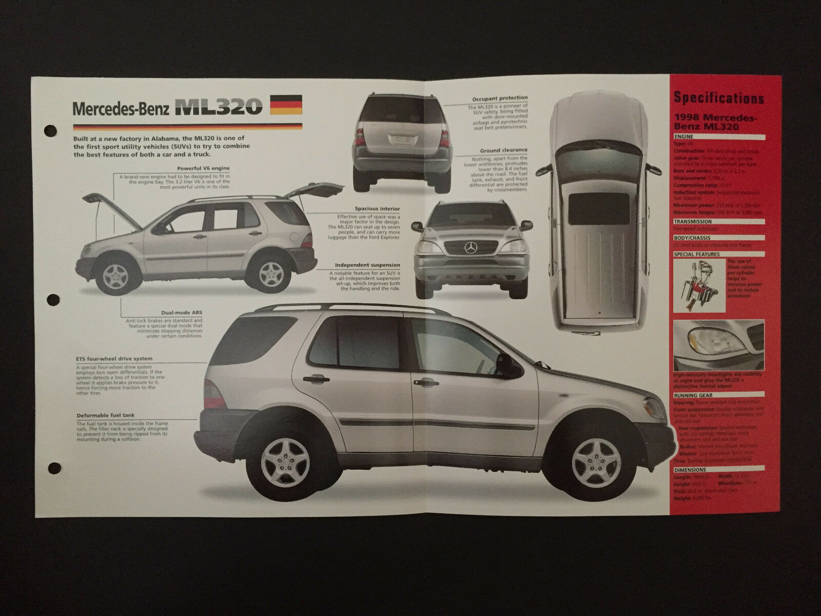 Mercedes-Benz ML320 IMP Hot Cars Spec Sheet Folder Brochure RARE 1 of 1Only  1 available ...
