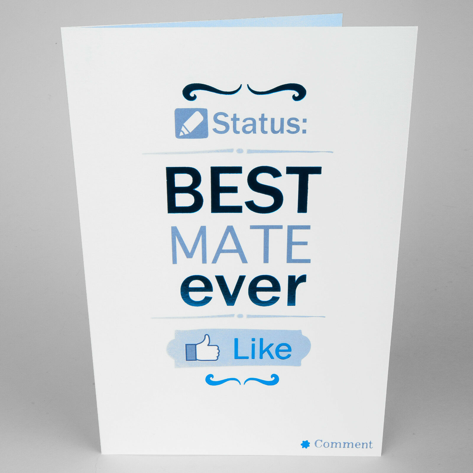 Birthday Greetings Card Facebook Best Mate Ever Funny Blue Foil