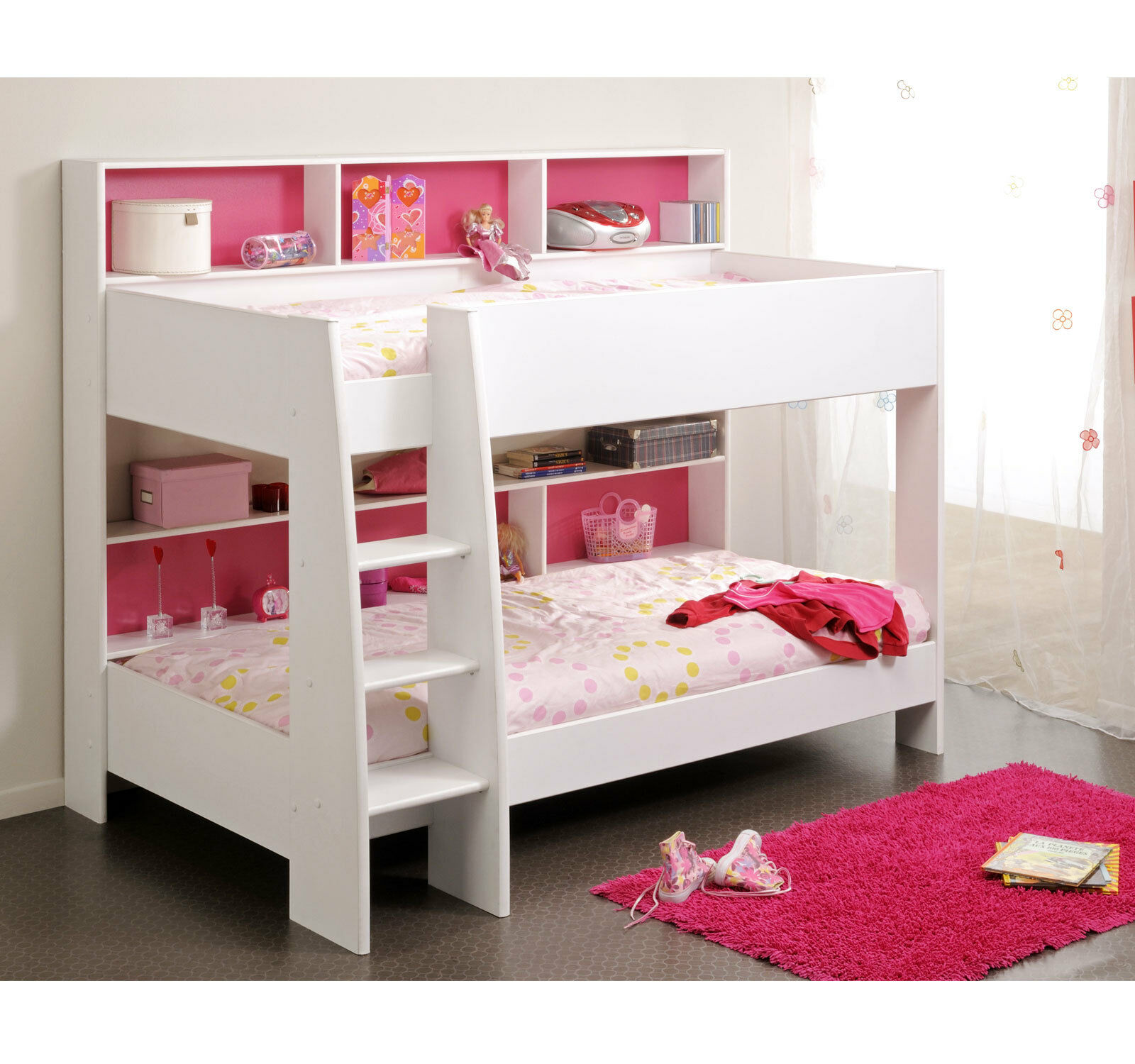 m dchen kinderbett 90x200 kinder etagenbett hochbett wei. Black Bedroom Furniture Sets. Home Design Ideas