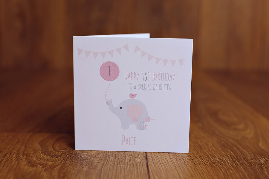 Personalised Handmade 1st First Birthday Card Daughter 375