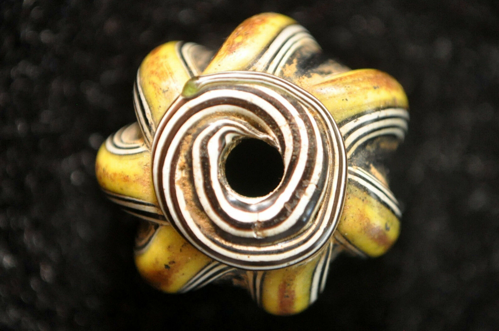 Rare Ancient Mosaic Glass Melon-Form Collared Bead  21mm Excellent Condition