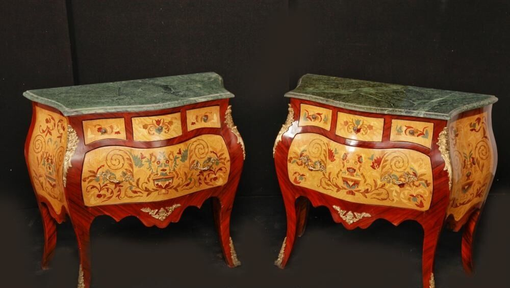 Pair Italian Rococo Bombe Commodes Chest Drawers