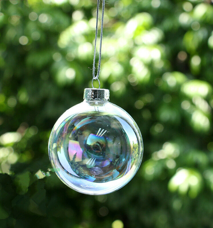 Wedding Clear Iridesecnt Glass Baubles Ball Tree Hang
