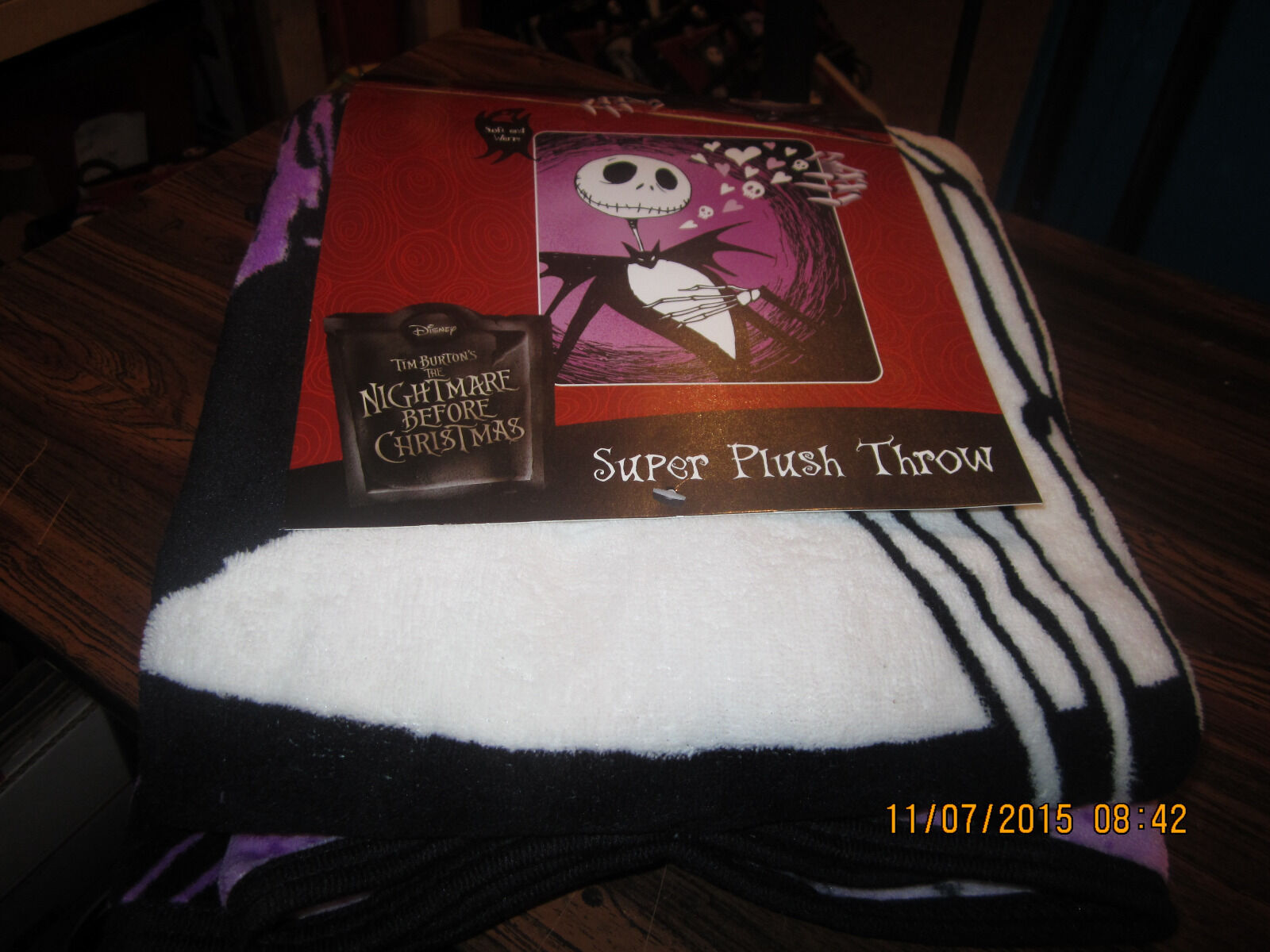 NIGHTMARE BEFORE CHRISTMAS Jack Skellington Hearts Blanket 46 X 60 ...