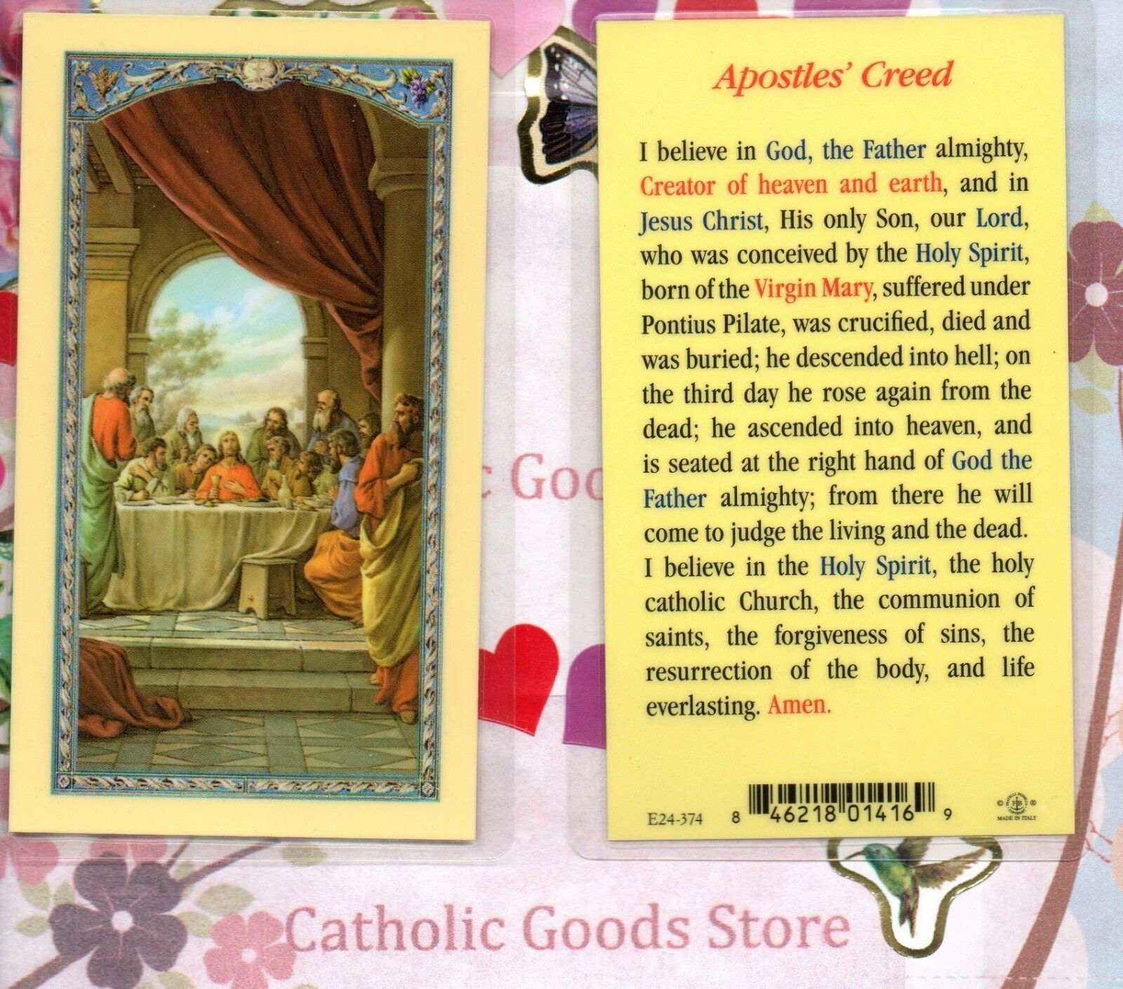 LAST SUPPER - The Apostles\' Creed - Laminated Holy Card - $1.40 ...