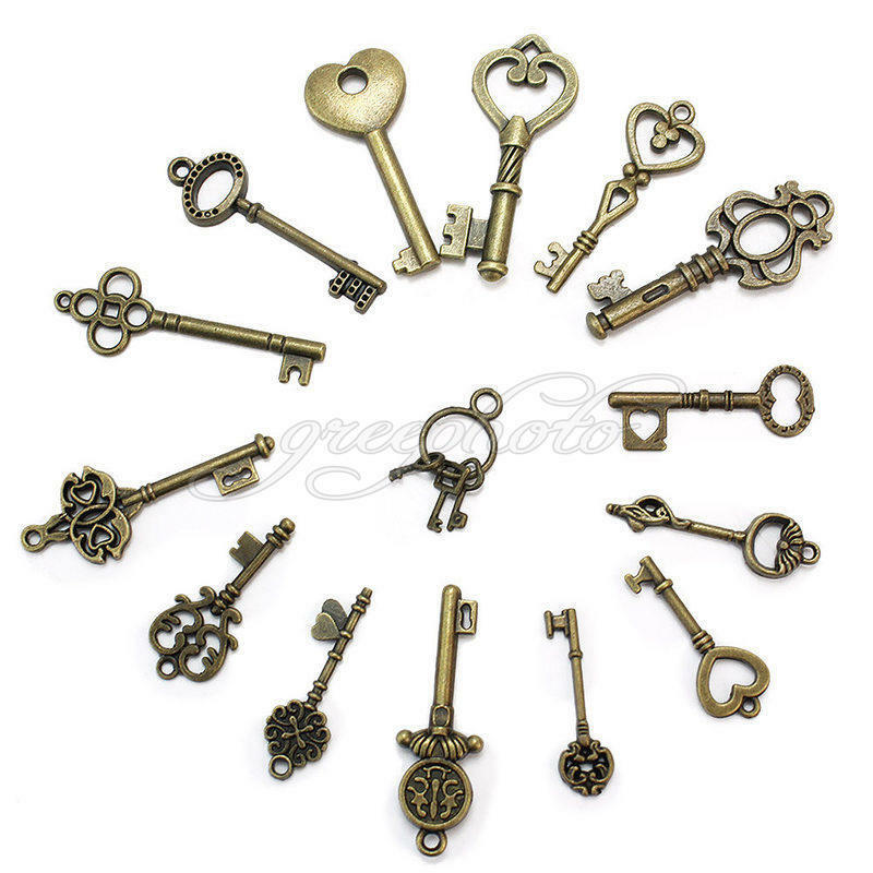 15 Pcs Mixed Style Bronze Antique Key Shape Pendant Charms DIY Jewelry Findings