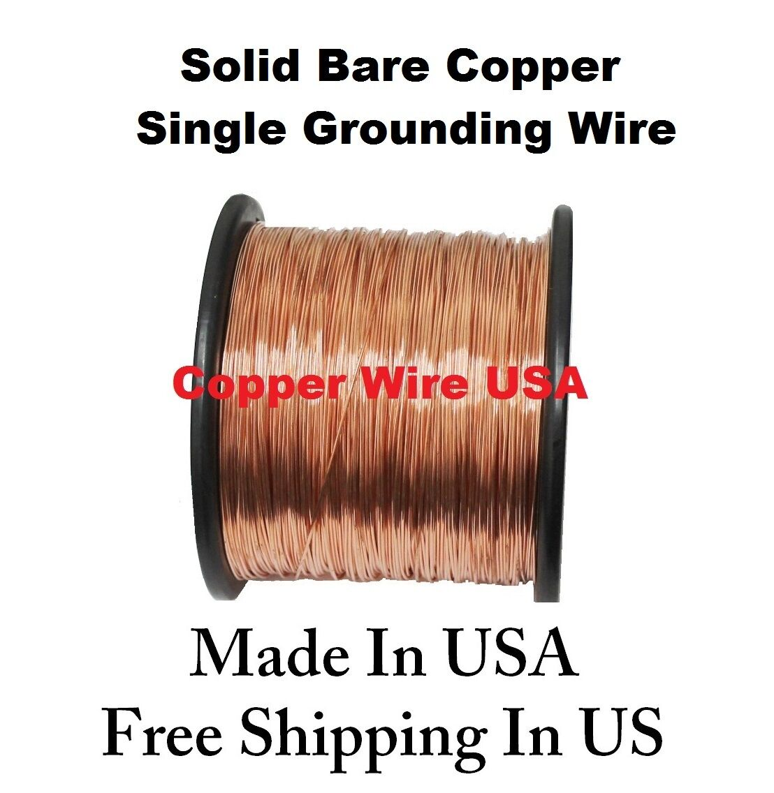 18 AWG SOLID BARE COPPER SINGLE GROUNDING WIRE ( 400 FT. 2 Lb. Spool ...