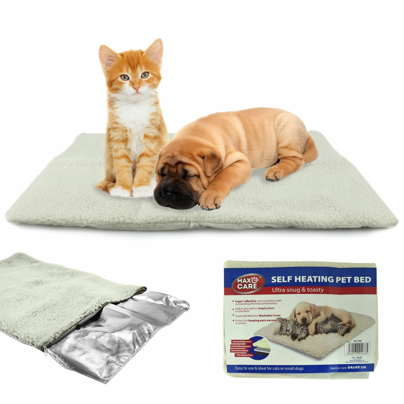 Self Heating Thermal Pet Bed Cushion Heated Mat Dog Cat Washable Super Warm Rug