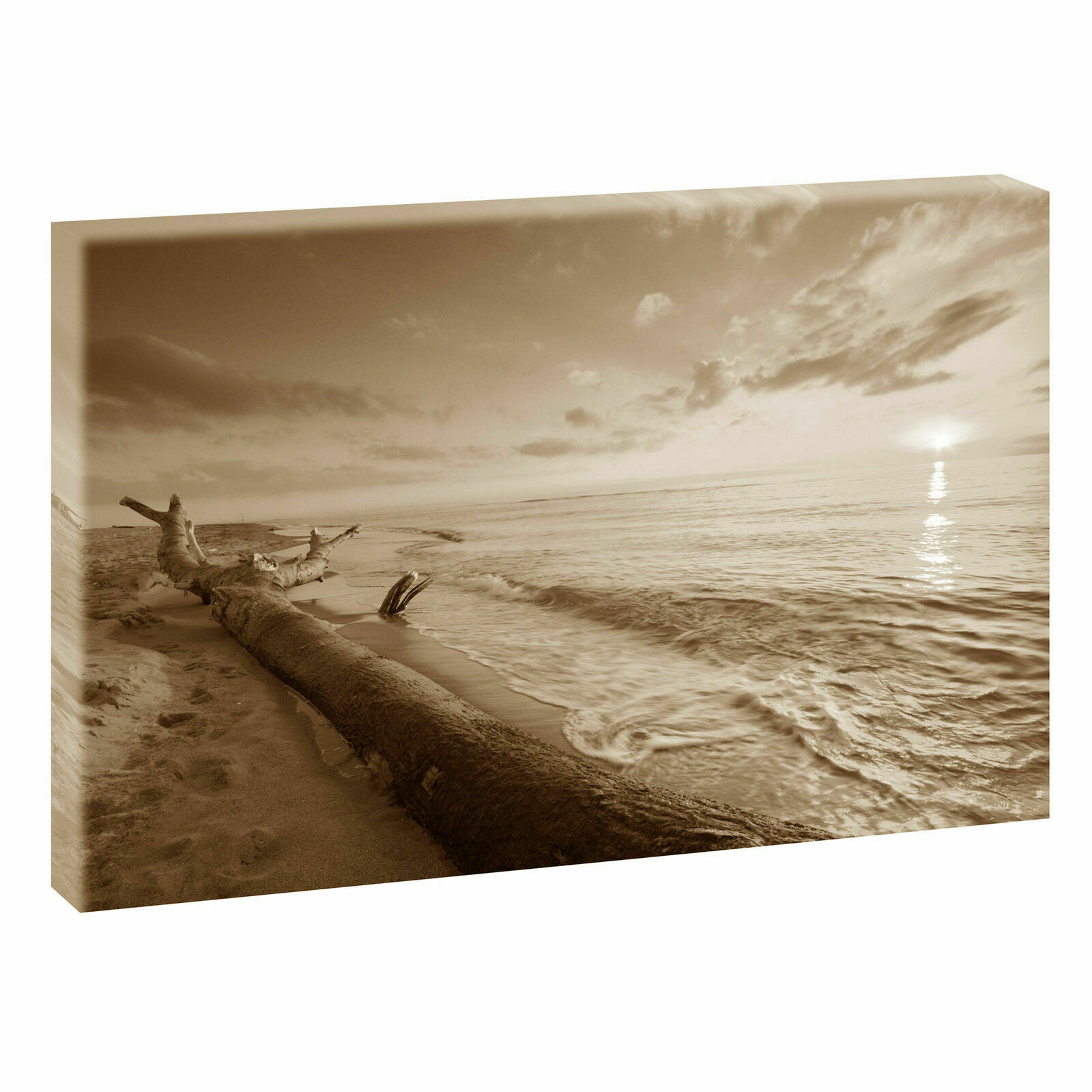 sundown sepia bild strand meer keilrahmen leinwand poster xxl 120 cm 80 cm 547 eur 32 78. Black Bedroom Furniture Sets. Home Design Ideas