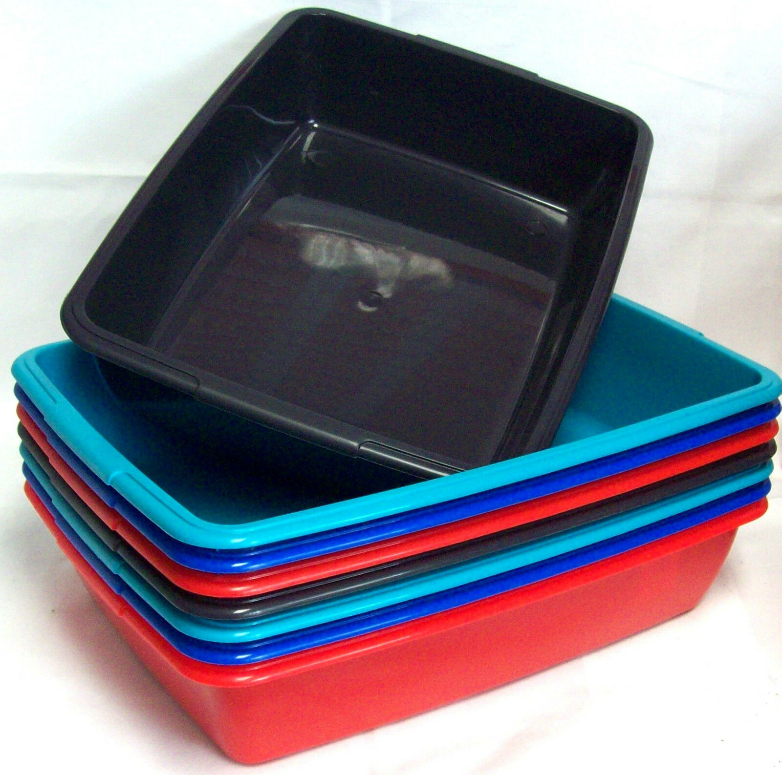 2 x Whitefurze 40cm Medium Size Plastic Cat Litter Tray Home Tidy Tray Assorted