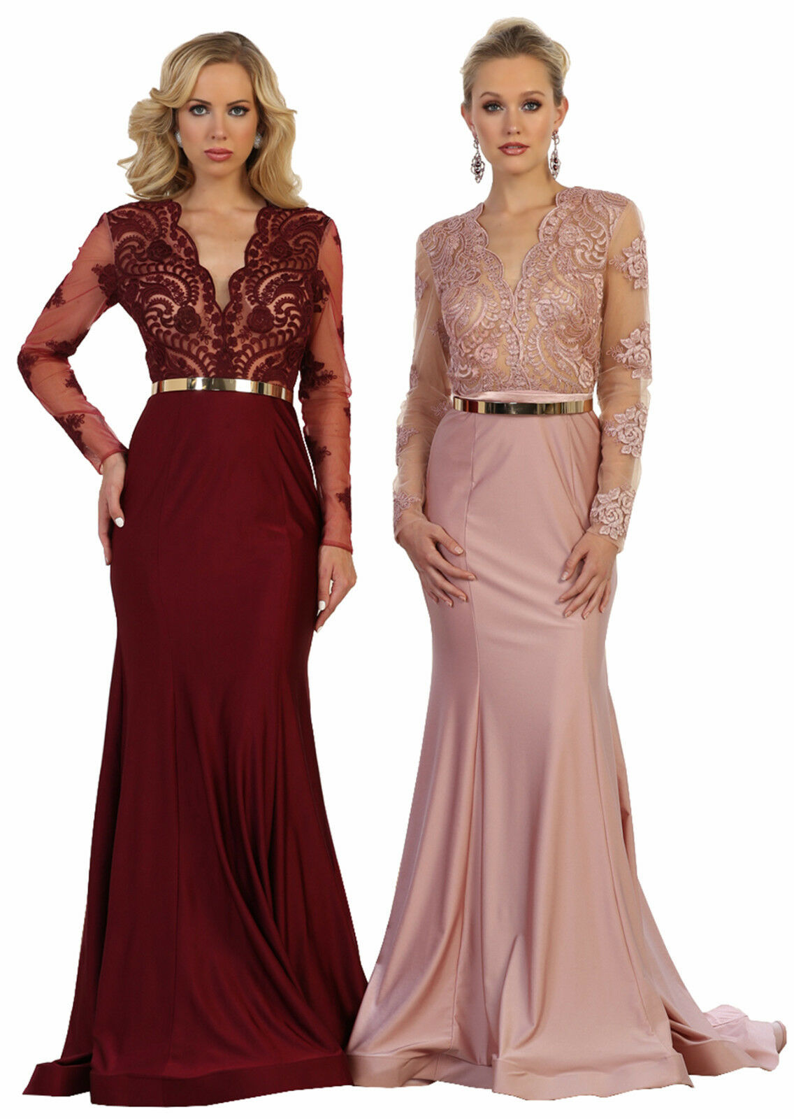 NEW LONG SLEEVE Evening Gown Stretchy Red Carpet Prom Dance Formal ...