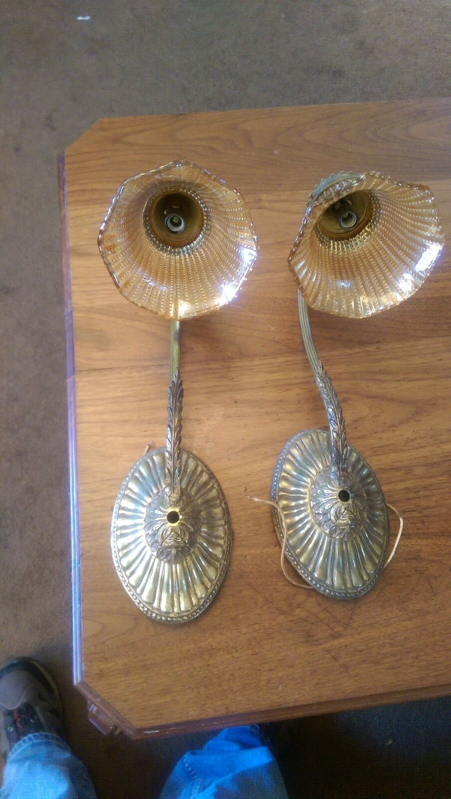 Pair Antique Solid Brass With Carnival Glass Shade Sconces