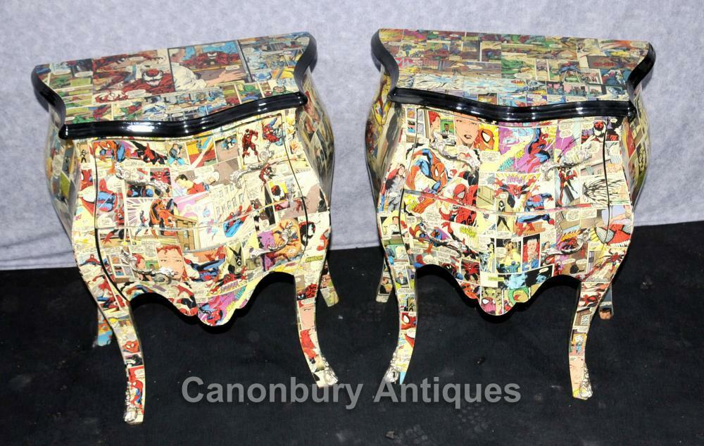 Pair Chest Drawers Comic Print Bedside Chests Tables Nightstands