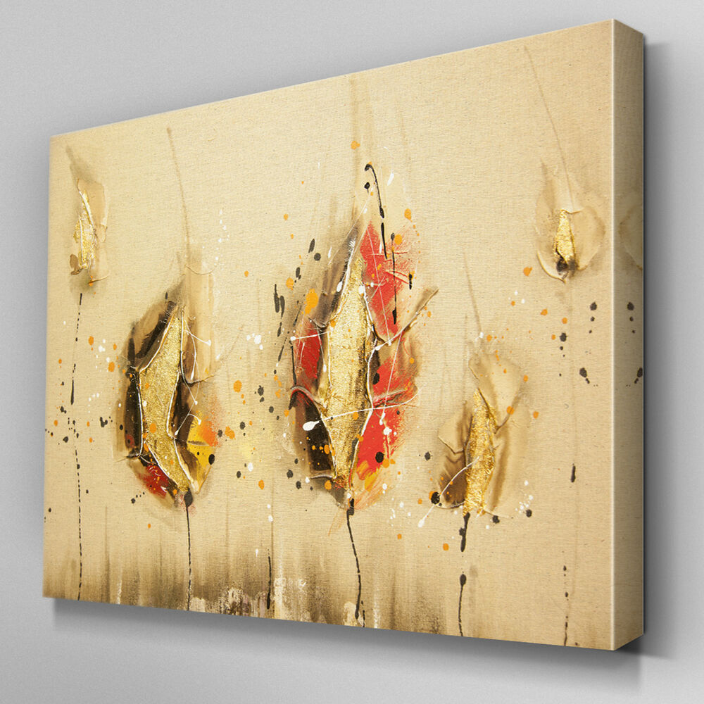 AB753 MODERN Cream flower orange Canvas Wall Art Abstract Picture ...