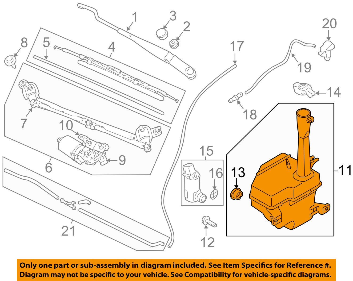KIA OEM 10-13 Forte Wiper Washer-Windshield Fluid-Reservoir Tank 986201M100  1 of 2FREE Shipping See More