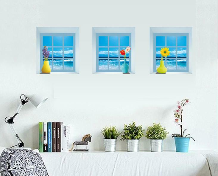 3d blue sea vases windows home room removable wall sticker decal