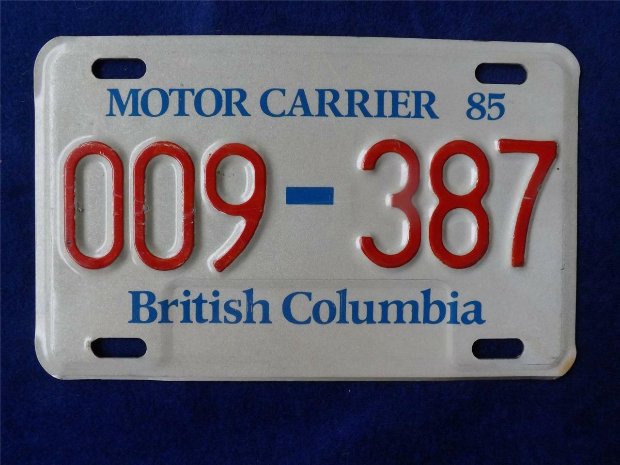 British Columbia Motor Carrier License Plate 1985 Canada