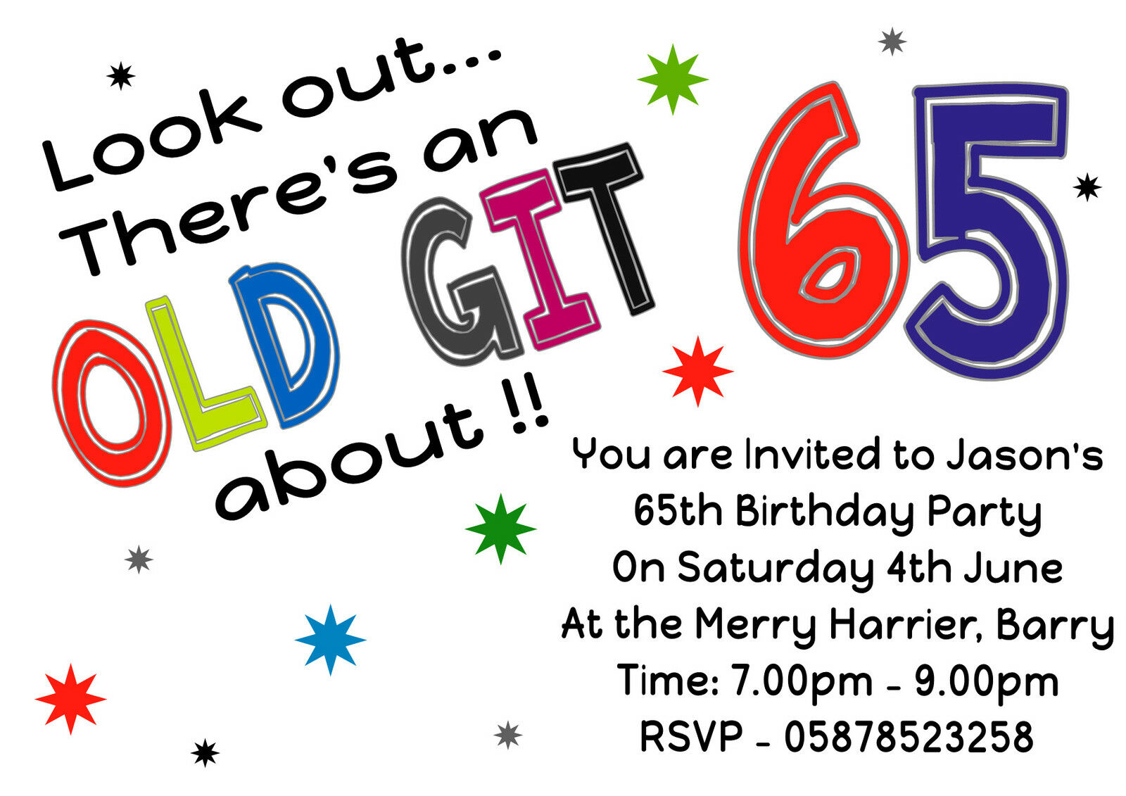 FUN PERSONALISED ALL AGES birthday party invitations 40th 50th 60th ...