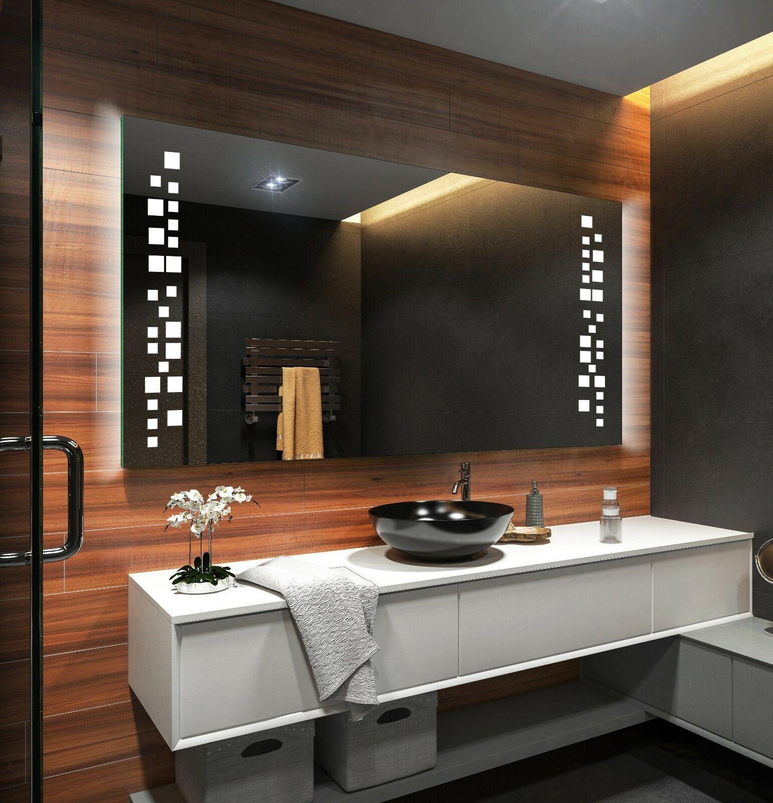 beau miroir salle de bain lumineux led sur mesure l38. Black Bedroom Furniture Sets. Home Design Ideas