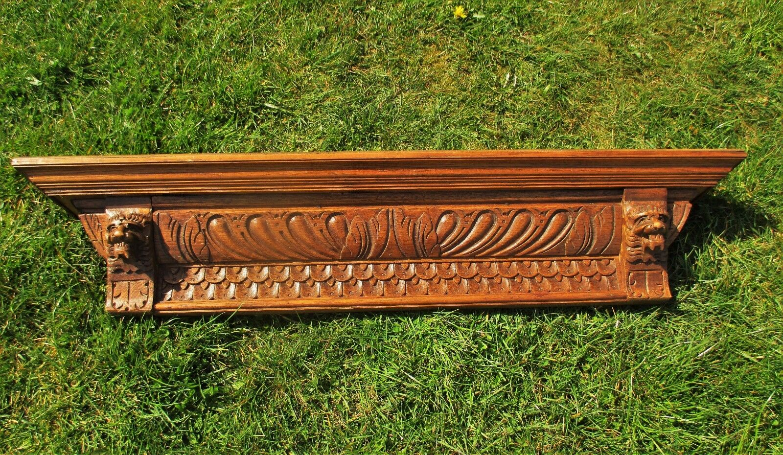 Vintage Gorgeous Hand Carved Wood Pediment Overdoor Lion Heads WOW