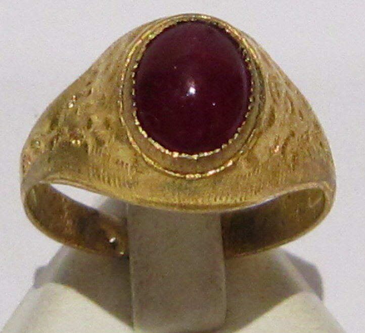 VINTAGE NICE BRONZE RING WITH RED STONE FROM THE EARLY 20th CENTURY # 585
