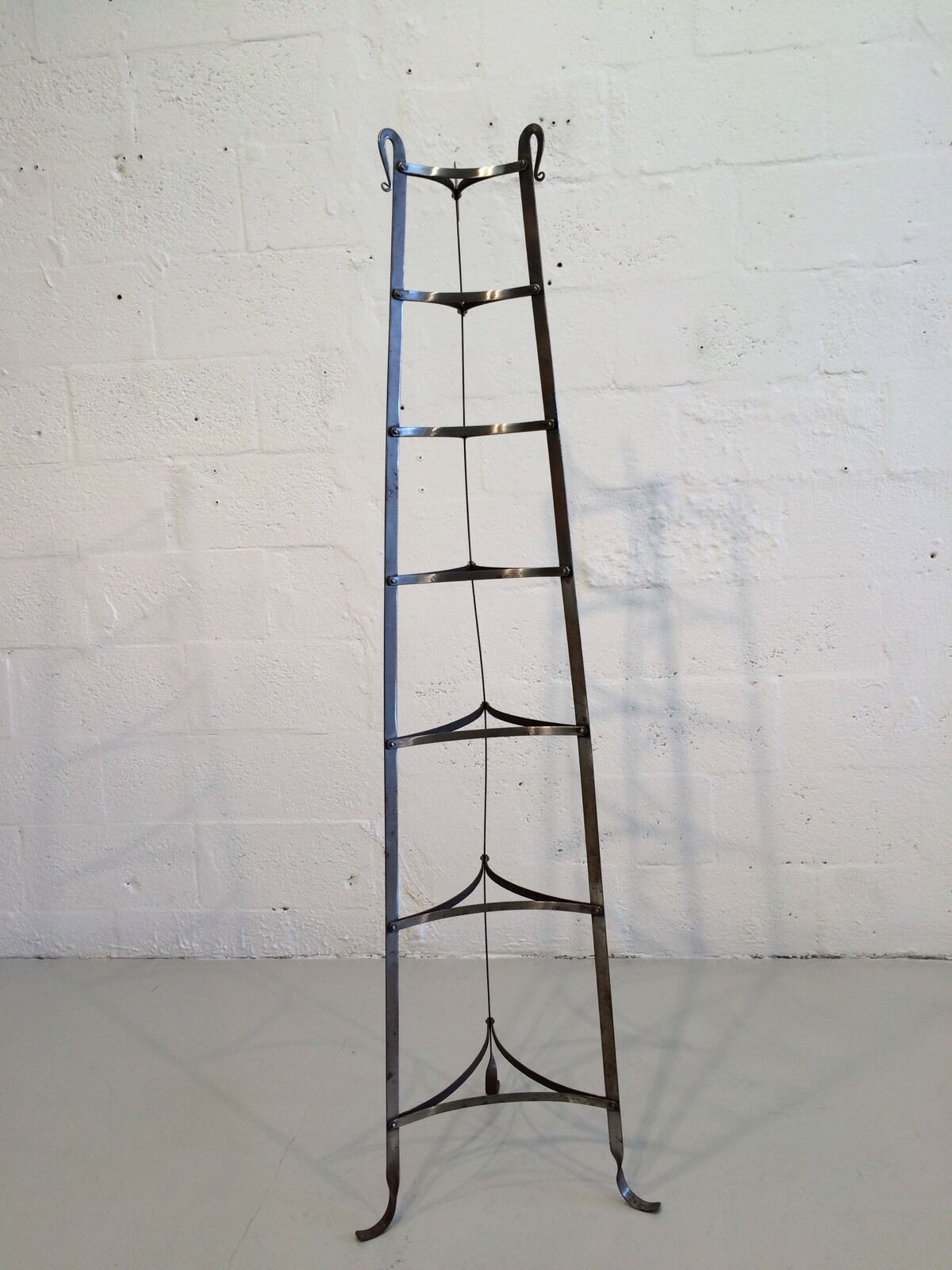 industrial hand-forged plant stand mixing bowl rack shelf 1930s metal