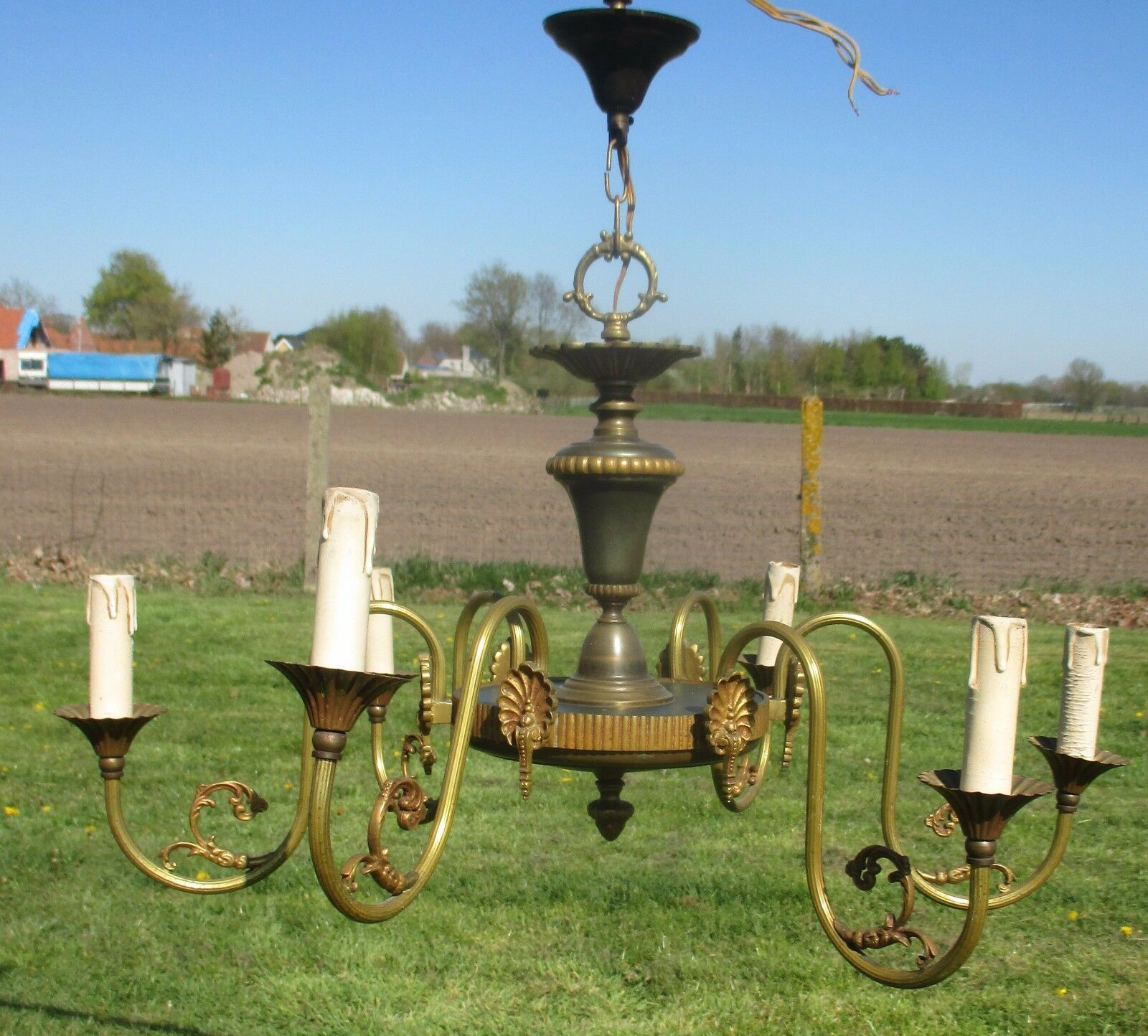 Vintage French Empire Style Chandelier 6 Arm Lights Green Toleware Brass