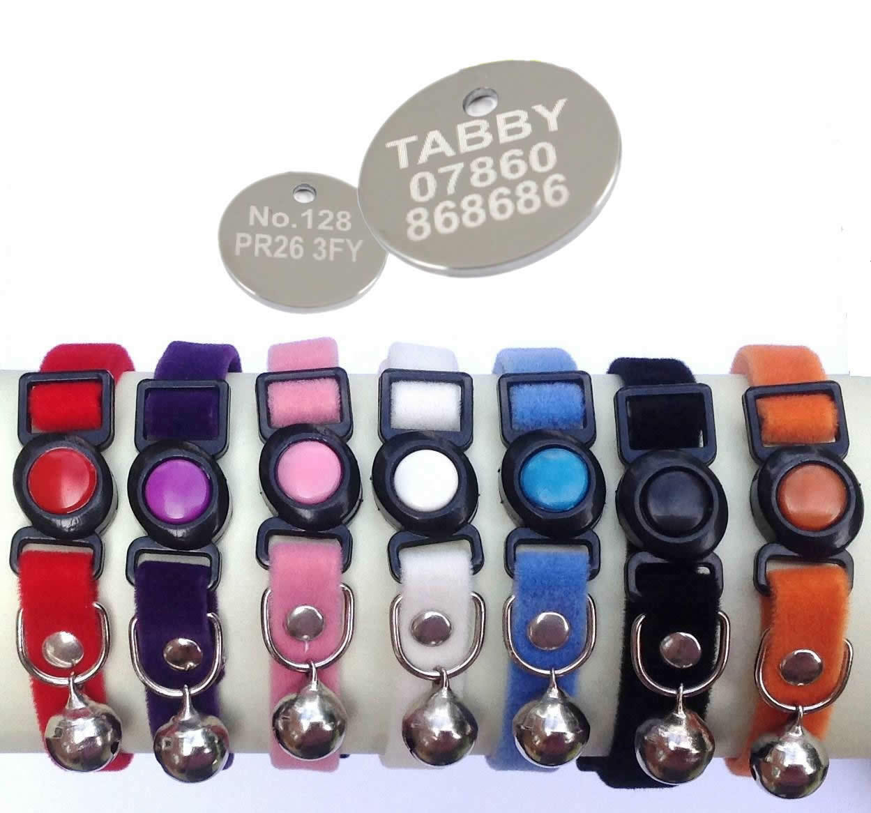 Velvet Cat Collars,with Safety Snap Away Buckle .. with or without ENGRAVED TAG