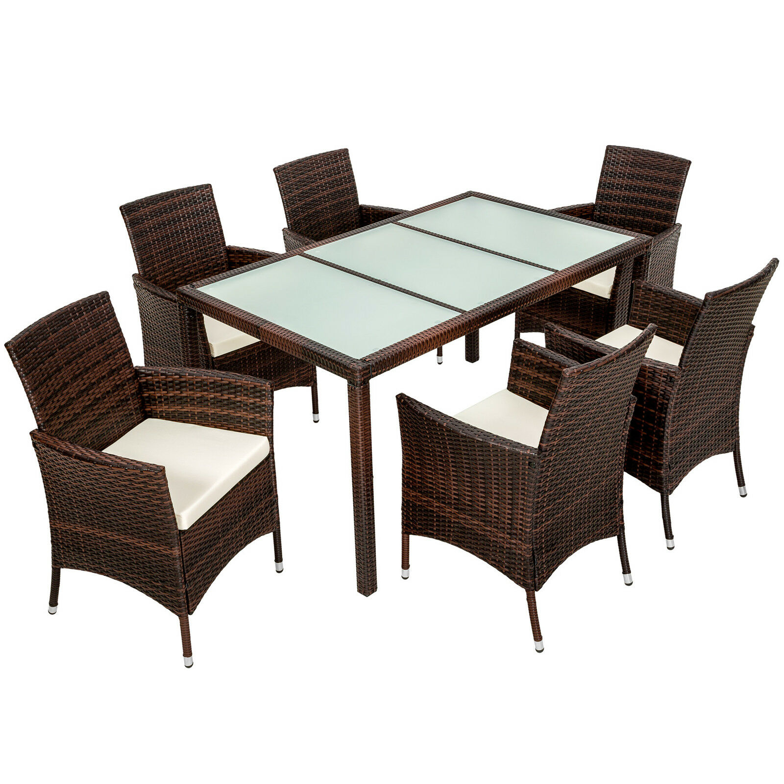 6 seater rattan garden furniture dining set chairs table for Rattan garden furniture