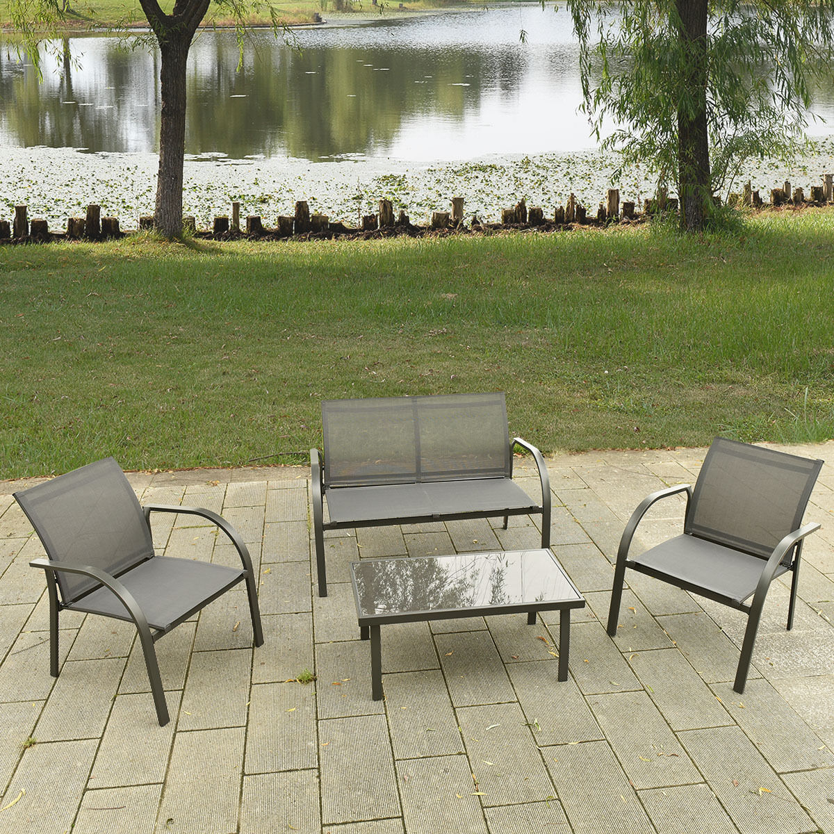 4pc patio rattan garden furniture set steel frame outdoor for Lawn and garden furniture